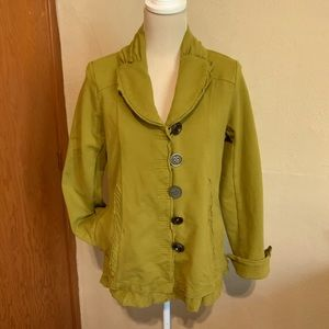 NEON BUDDHA moss green cotton jacket with large buttons Size M